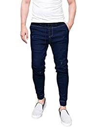 ALIKEEY Hombre✌ Slim ✌Biker✌ Cremallera Denim Jeans Skinny Frayed Pants Distressed Rip Trousers Hole Zippered Tachuelas… sMgbOCM8X