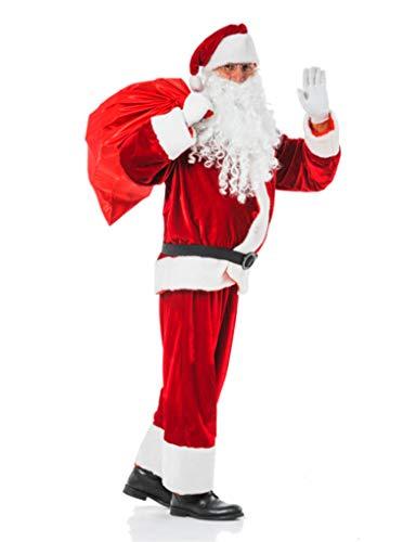 TK Gruppe Timo Klingler Weihnachtsmann Nikolaus Verkleidung Nikolauskostüm Weihnachtsmannkostüm Kostüm mit Bart, Gürtel, Mütze für Unisex Erwachsene