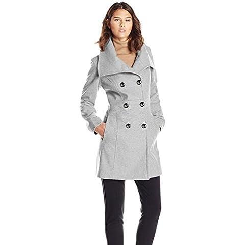 Doble botonadura abrigo de lana moda , gray , s