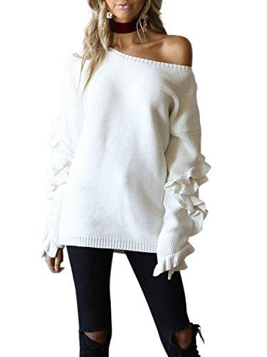 simplee abbigliamento delle donne in autunno - inverno una spalla a maniche lunghe balze maglione maglione sopra Bianco