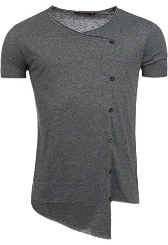 ReRock Asymmetrisches T-Shirt Knopfleiste Longline Oversized RR-11117 Antrazit