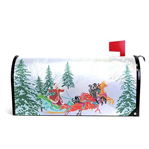 Alaza(mailbox cover) WOOR Schlitten mit DREI Pferden im Winter, magnetisch, Standardgröße, 45,7 x 52,1 cm 20.8x18 inch Standard Size Multi