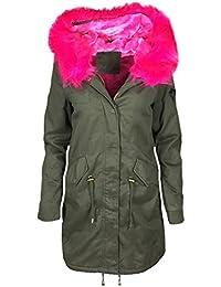 ALZORA Parka Damen Winter Jacke XXL KUNSTFELL IN GRÜN PINK Kapuze Mantel  Fashion WINTERMANTEL Jacket Blogger MIT… 71a71abe24