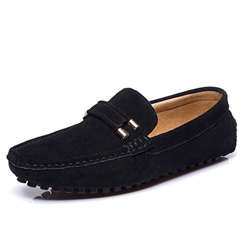 Hongjun-shoes, Frühjahr/Sommer 2019 Herren Mokassins, Herren Slip On Driving Mokassin Wildleder Slipper Mode Schnalle Hausschuhe Penny Bootsschuhe (Color : Schwarz, Größe : 42 EU)
