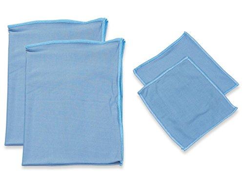 RESPEKT Mikrofaser Glaspoliertuch, Fenstertuch, Trockentücher, Putztücher und Reinigungstücher für Hochglanzoberflächen - 4tlg. Mikrofaser Set, 15x15 cm und 60x40 cm