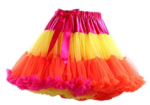 Honeystore Tanzkleid Ballettrock Kinder Mädchen Damen Tutu Rock Schleife Pettiskirt für Show Party Cosplay Mehrfarbig One (Und Julia Romeo Für Kinder Kostüme)