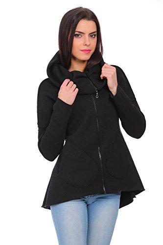 FUTURO FASHION - Sweat-shirt - Blouson - Uni - Col Chemise À Patte Boutonnée - Femme gris Cendré Noir