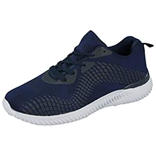 Airtech Mens Lightweight Canvas Mesh Flexible Sports Gym Fashion Trainers Size UK 7-12 (9 UK, Navy)