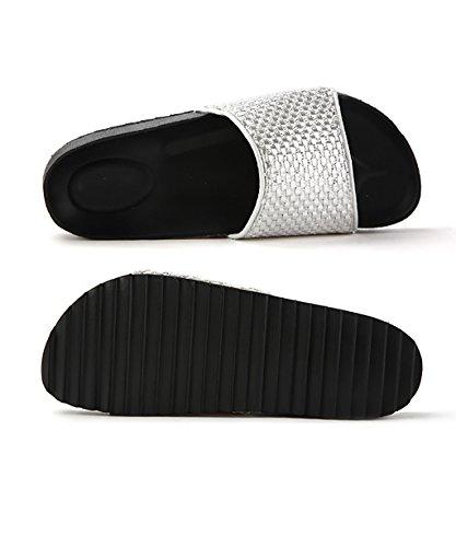 CHAOXIANG Pantofole Piatte Flip Flop EVA Toe Post Sandali Da Surf Nuovo Calzature Da Spiaggia Estiva ( Colore : Oro , dimensioni : EU37.5/UK4.5/CN38 ) Silver