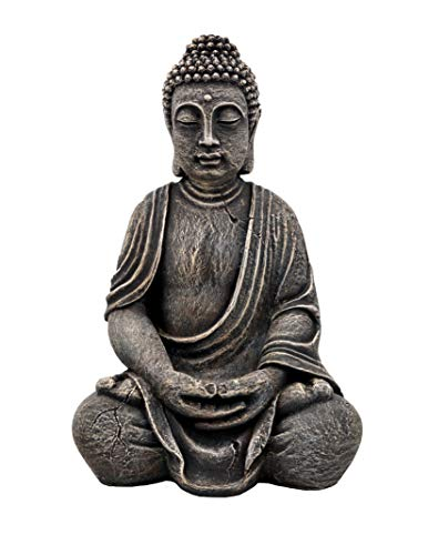 gartendekoparadies.de Großer massiver Stein Buddha aus Steinguss frostfest (Mehrfarbig)