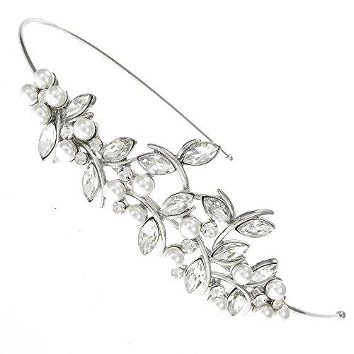 Blatt-Perlen und Swarovski Kristall Brautschmuck Diadem Haarband Haarreif
