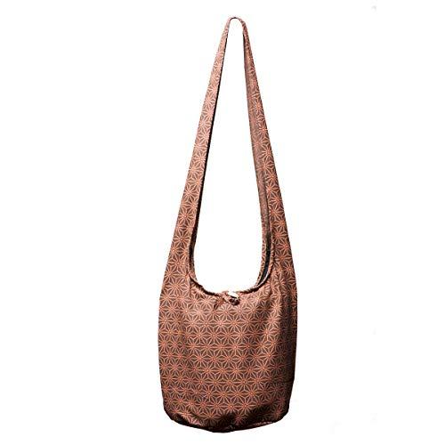 Tasche Braun Stoff Handtaschen (PANASIAM Schultertaschen Asanoha Design in braun, M)