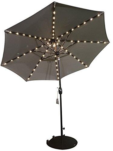 SORARA Sonnenschirm mit USB Ausgang - Sonnenkollektor - LED Beleuchtung   Beige/. Sand   Rund SOLAR   Ø 270 cm   Polyester 180 g/m² (UV 50+)  Kurbel Mechansimus   Incl. - Solarenergie-handy-fall