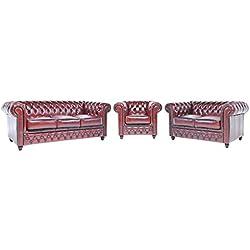Original Chesterfield Sofas und Sessel - 1 / 2 / 3 Sitzer - Vollständig Handgewaschenes Leder – Antik Rot