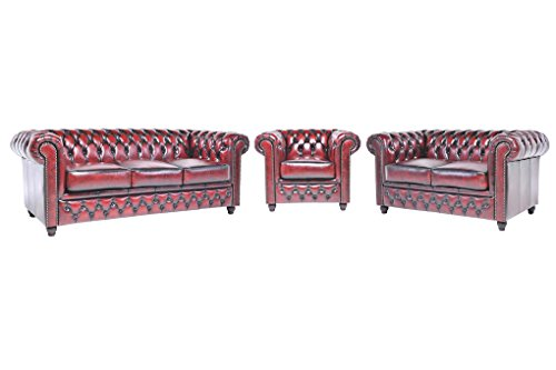 Original Chesterfield Sofas und Sessel – 1 / 2 / 3 Sitzer – Vollständig Handgewaschenes Leder – Antik Rot
