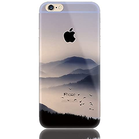 Sunroyal Creative Multi Colored Pattern Design Clear Gel TPU Back Bumper for iPhone 6 6S 4.7 inch Soft Environmental TPU Cases Virtually Premium Cell Phone Shell High-grade Silicone Bumper + HD Super Clear Screen Protector + Anti-Dust Plug Dust Plug Stylus Pen, Black Mountain Bird Colors Painting Print