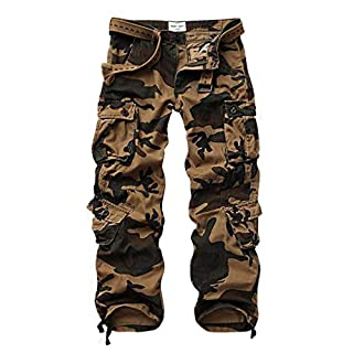 MUST WAY Men's Cargo Regular Trouser Army Combat Work Trouser Workwear Pants with 8 Pocket 3357C AF Camo 34