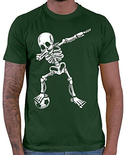 HARIZ  Herren T-Shirt Dab Skelett mit Fussball Dab Teenager Dance Karneval Inkl. Geschenk Karte Dunkel Grün M