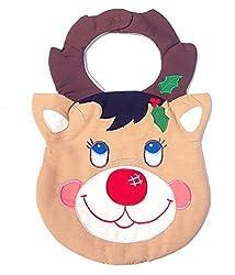 Quilted Christmas Baby Bib Reindeer
