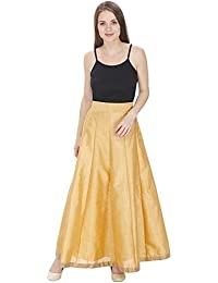 D'zires Moniba Womens Golden Skirt With Dori And Latkan, Women Gold Silk Solid Skirt, Long Skirt, Skirt For Women...