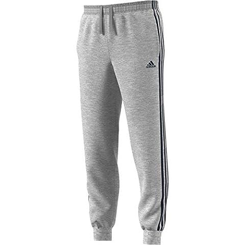 adidas Herren Essentials 3-Streifen Hose, Medium Grey Heather/Collegiate Navy, S