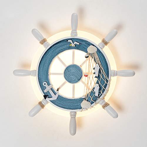 SUNA LED Chambre à Coucher Murale De Lampe Acrylique Méditerranéenne, Décoration De Chambre D'enfants Dessin Animé Bateau Créatif Gouvernail Léger (bleu)