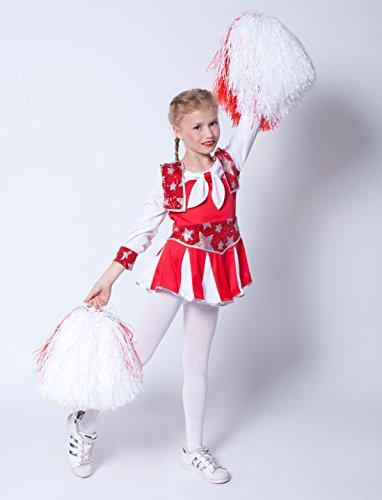 heerleader, rot-weiß, Gr. 140 (Kinder Cheerleader Kostüm)