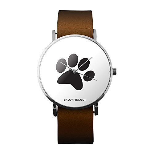 Armbanduhr Herren Damen Enjoy Project zampetta Pfote Tatze Hund Tier Pet Gehäuse silber Armband Leder braun Analog Quarz (Hund-gehäuse)