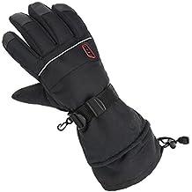 Alpidex Guantes de invierno Guantes de esquí HOT WOOLF con aislamiento Thinsulate Guantes térmicos Unisex Impermeables A prueba de viento Transpirables, Tamaño:M, Color:black