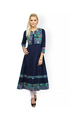 AnjuShree Choice Women's Printed Cotton Kurta (ASC034P7_LARGEEEEEE_Blue_Large)