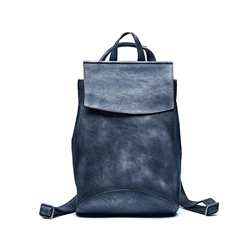 FONKIC Frauen-Rucksack aus Echtem Leder Tote Schulter Eimer Taschen Elegante Stil Handtasche,Gray - Tote Stil Schulter Tasche