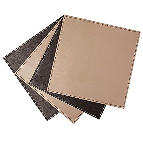 Just Contempo Sets de table, simili cuir–Noir/taupe, Lot de 4