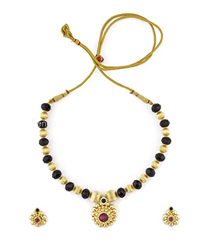 Womens Trendz Round Pandal Unique Haar 24K Gold Plated Alloy Necklace and Earring Set  available at amazon for Rs.520