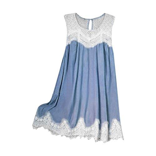 iYmitz DamenLässige ärmellose Spitze Stitching gekräuselten Saum Tank Camis Tunika Top Bluse(Blau,EU-44/CN-2XL)