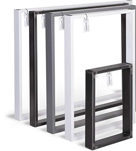 HOLZBRINK Tischkufen aus Vierkantprofilen 60x20 mm, Tischgestell 100x72 cm, Tiefschwarz, 1 Stück, HLT-01-E-HH-9005