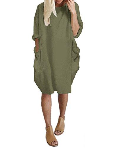 Kidsform Damen Lose Kleid Rundhals Lange Oberteile Mit Tasche Oversize Bluse Tops Plus Größe Armee Grün EU 46/Etikettgröße 2XL