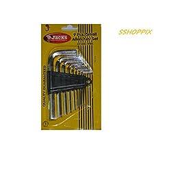 Wrench Set 9 PCS Silver Tone Metal Inner Hex Allen Key set