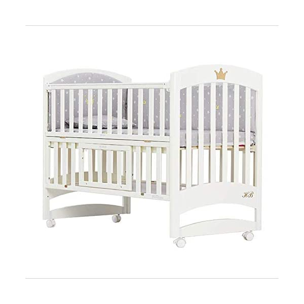 Solid Wooden Baby Cot,toddler Bed, Multifunctional White Cradle Bed Newborn Stitching, Height Adjustable HXYL Package contains bed, mosquito net, mosquito net pole, moving caster, kit Split panel for connecting to a large bed Three heights are adjustable to suit your child's different needs 1