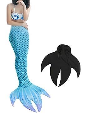 Niñas Cola de Sirena para Nadar con Monoaleta Mujer Sirena Concha Cosplay Traje Conjunto