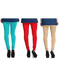Leggings Free Size Cotton Lycra Churidar Leggings Pack Of 3 Light Blue , Red & Skin By SMEXY