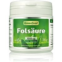 Folsäure, 1000 µg, extra hochdosiert, 180 Tabletten, vegan – für Blutbildung und Wundheilung, bei Kinderwunsch... preisvergleich bei billige-tabletten.eu
