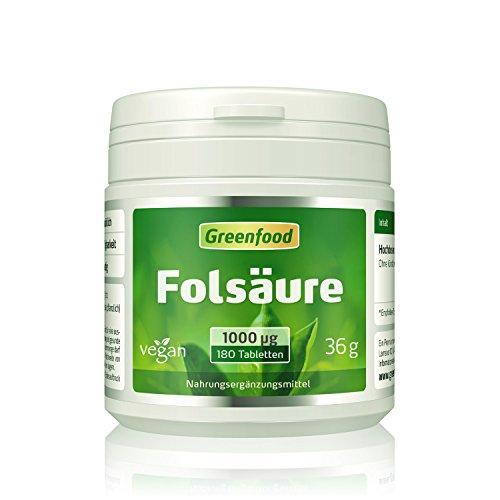 Folsäure, 1000 µg, extra hochdosiert, 180 Tabletten, vegan - für Blutbildung und Wundheilung, bei Kinderwunsch und Schwangerschaft, für Zellwachstum. OHNE künstliche Zusätze. Ohne Gentechnik. Vegan.