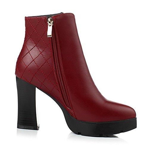 AllhqFashion Damen Niedrig-Spitze Rein Reißverschluss Stiefel mit Metall Schnalle, Rot, 33