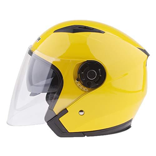 Almencla 1 Pezzo di Casco da Moto con Visiera Parasole, Visiera Aperta, Visiera Completa, Casco Protettivo Protettivo - XXL giallo