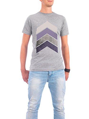 "Design T-Shirt Männer Continental Cotton ""Scandi Chevrons in Mauve"" - stylisches Shirt Geometrie von Linsay Macdonald Grau"