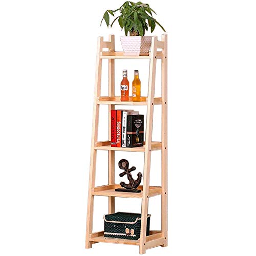 JCNFA Trapezförmiges Lagergestell Pflanzenregal Hölzernes Bücherregal Öffnen Hoher Espresso Im Regal Ladder Bücherregal (Farbe : Holzfarbe, größe : 17.32 * 13.77 * 57.48in) -