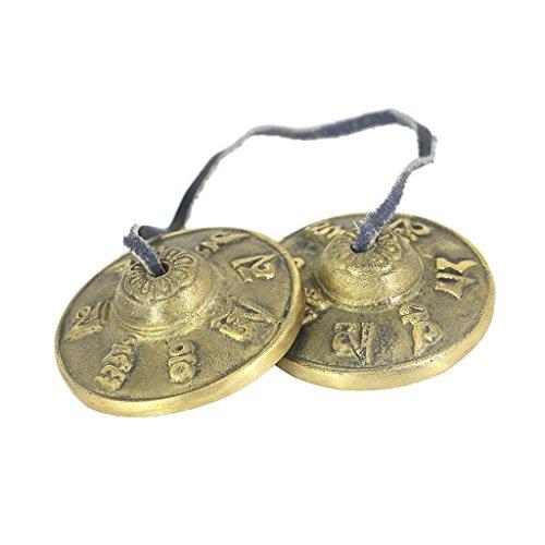 Sharplace Tibetische Tingsha aus Messig (Gebet Glocken) Geschnitzt Becken Bell mit Drachen