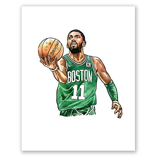 AtoZStudio A48 Kyrie Irving Poster // Art Poprenn // Basketball Legends // Bild Porträtdruck Sport King Celtics // Home Wall Decor Picture 11x14 -