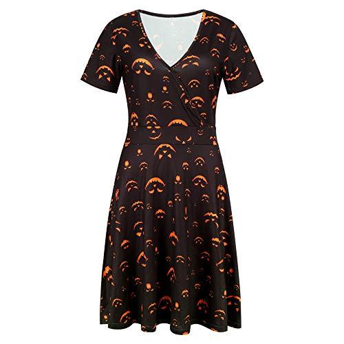 Dicomi Halloween Frauen Kurzarm V Ausschnitt Druck Vintage Kleid Partykleid A Schwarz 2XL