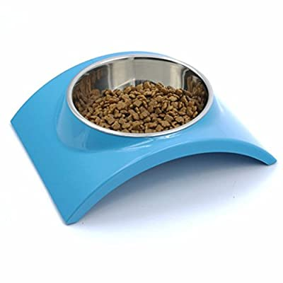 SUPER DESIGN SuperDesign Removable Stainless Steel Dog Cat Bowl with Melamine Stand, for Food and Water Feeder from SuperDesign